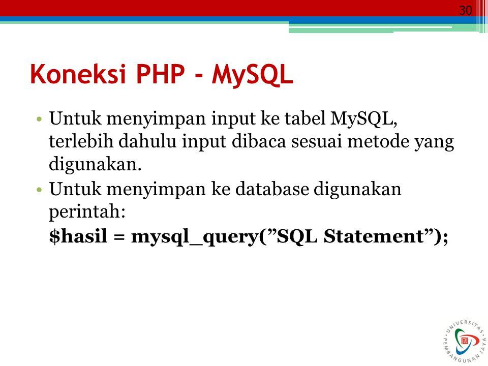 30 Koneksi PHP - MySQL Untuk menyimpan input ke tabel MySQL, terlebih dahulu input dibaca sesuai metode yang digunakan. Untuk menyimpan ke database di