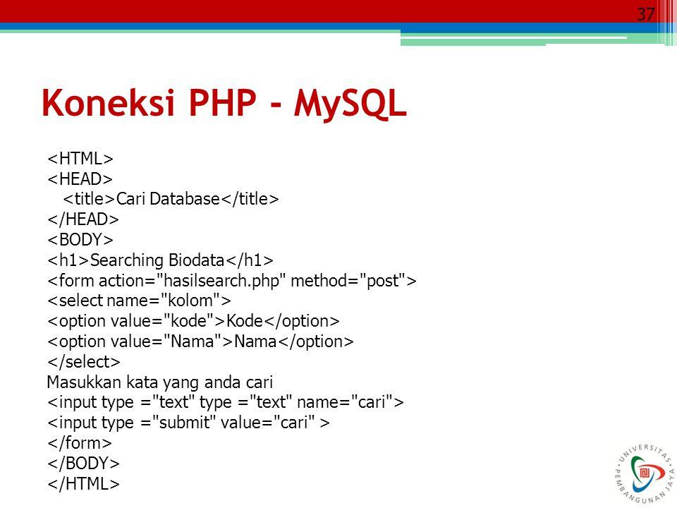 37 Cari Database Searching Biodata Kode Nama Masukkan kata yang anda cari Koneksi PHP - MySQL