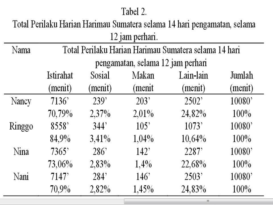  Harimau Sumatera di KBS lebih banyak menghabiskan waktunya untuk istirahat, diduga dipengaruhi kondisi kandang yang hanya berupa kandang berjeruji tanpa ada fasilitas bermain.