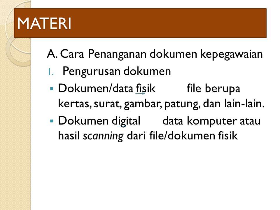 MATERI A. Cara Penanganan dokumen kepegawaian 1. Pengurusan dokumen  Dokumen/data fisik file berupa kertas, surat, gambar, patung, dan lain-lain.  D