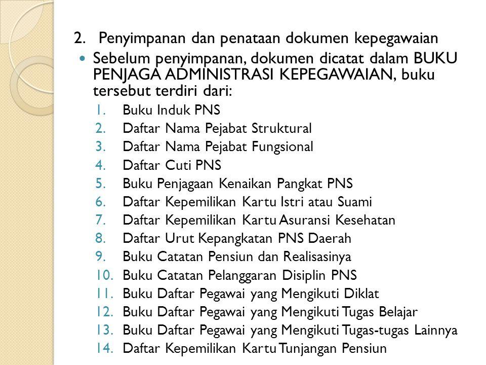 2. Penyimpanan dan penataan dokumen kepegawaian Sebelum penyimpanan, dokumen dicatat dalam BUKU PENJAGA ADMINISTRASI KEPEGAWAIAN, buku tersebut terdir