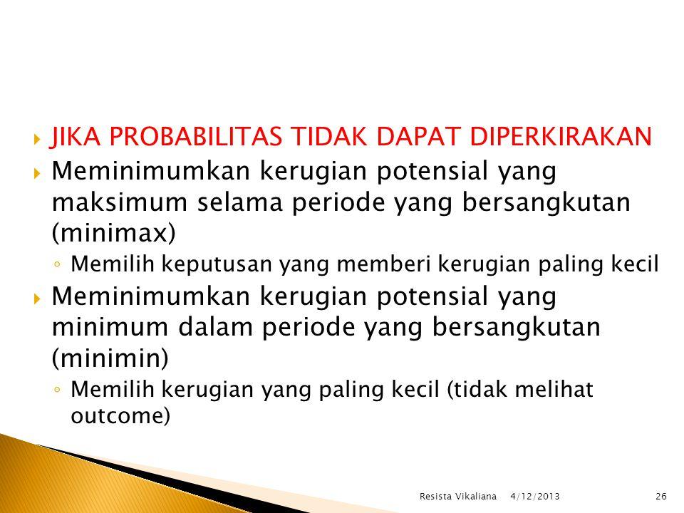  JIKA PROBABILITAS TIDAK DAPAT DIPERKIRAKAN  Meminimumkan kerugian potensial yang maksimum selama periode yang bersangkutan (minimax) ◦ Memilih keputusan yang memberi kerugian paling kecil  Meminimumkan kerugian potensial yang minimum dalam periode yang bersangkutan (minimin) ◦ Memilih kerugian yang paling kecil (tidak melihat outcome) 4/12/2013 Resista Vikaliana26