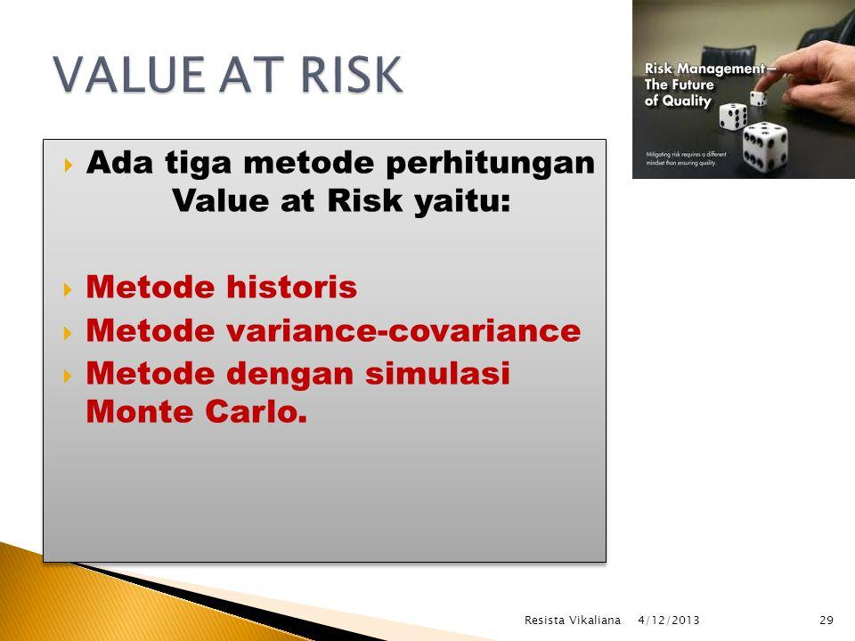  Ada tiga metode perhitungan Value at Risk yaitu:  Metode historis  Metode variance-covariance  Metode dengan simulasi Monte Carlo.
