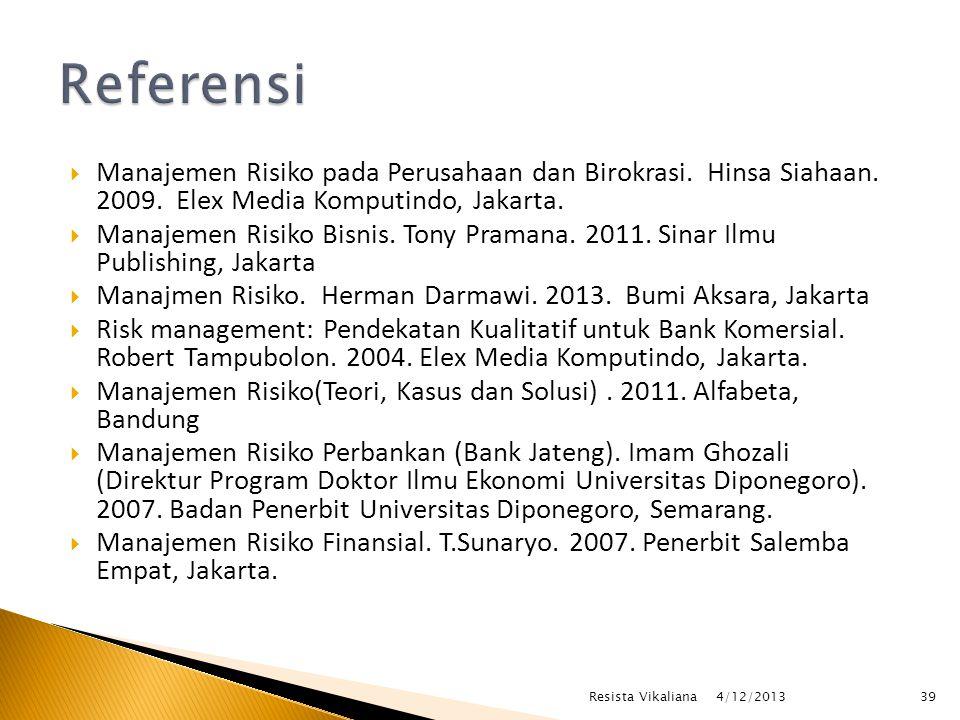  Manajemen Risiko pada Perusahaan dan Birokrasi.Hinsa Siahaan.