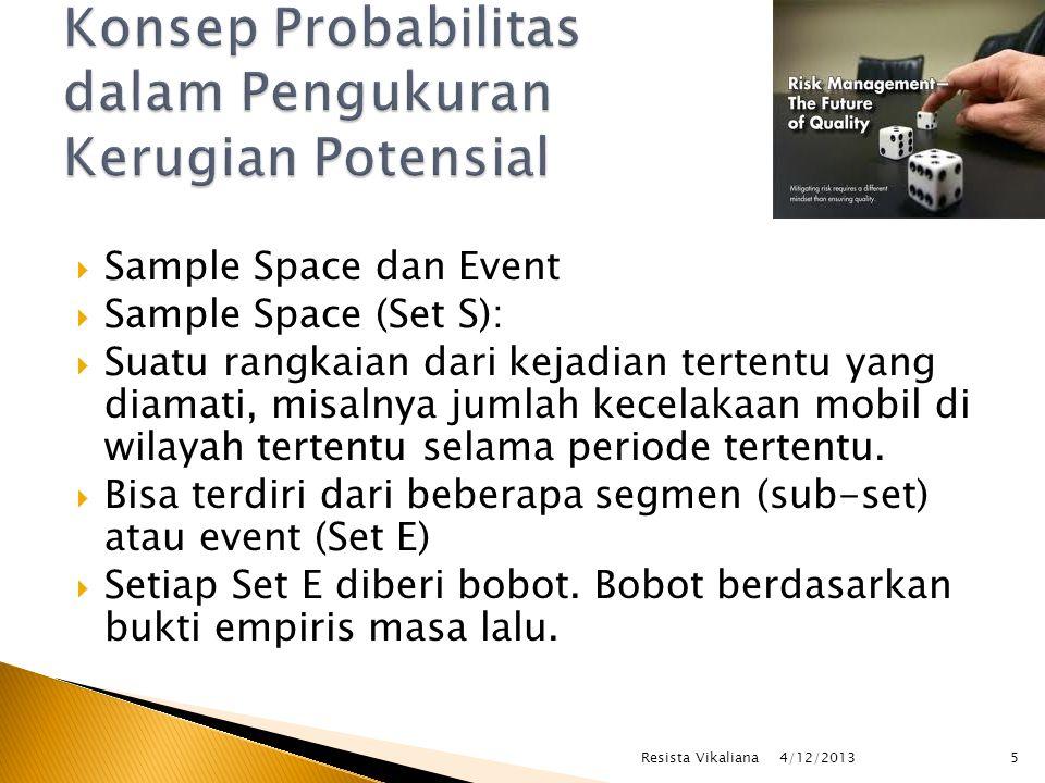  Misal pada kecelakaan mobil, mobil pribadi diberi bobot 2, sedangkan mobil penumpang umum diberi bobot 1, sehingga bobotnya  Bila tanpa bobotP (E) = E/S  Bila dengan bobotP (E) = W (E)/W (S)  P(E): probabilitas terjadinya event  E: sub set atau event  S: sample space atau set  W: bobot dari masing-masing event 4/12/2013 6Resista Vikaliana