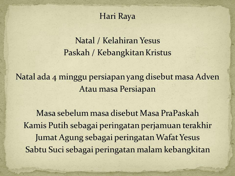 LITURGI Warna Liturgi : hijau, putih, ungu, merah Tata ibadah : (1) pembukaan (lagu pembukaan, pemberian salam dengan kata pembukaan, pernyataan tobat dengan 'Tuhan kasihanilah kami , doa kemuliaan, dan doa pembukaan), (2) liturgi sabda (bacaan I: perjanjian lama, mazmur tanggapan, bacaan II: perjanjian baru, Alleluia dengan bait pengantar Injil, bacaan III: Injil, homili, aku percaya, dan doa umat), (3) liturgi ekaristi (persembahan dan doa persembahan, doa syukur agung: prefasi yang kudus, merupakan ucapan syukur atas karya penyelamatan Allah, doa ekaristi dengan konsekrasi dan anmnese, komuni: doa Bapa Kami, salam damai, anak domba Allah dengan pemecahan hosti, menyambut komuni, syukur, doa sesudah komuni, (4) penutup (pengumuman dan doa pengutusan).