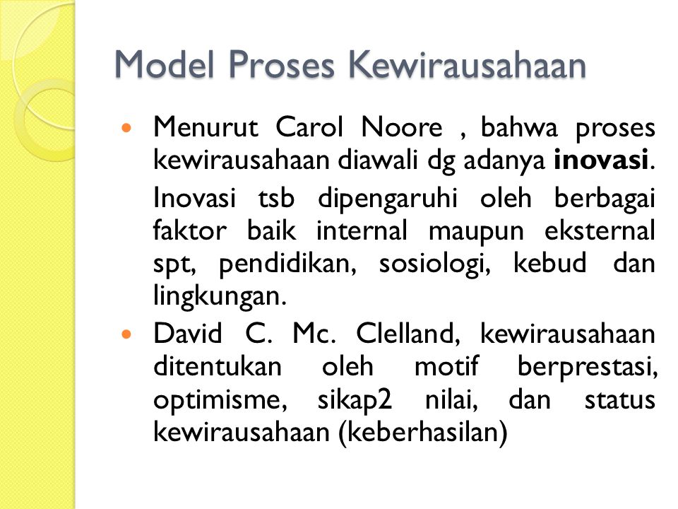 Model Proses Kewirausahaan Menurut Carol Noore, bahwa proses kewirausahaan diawali dg adanya inovasi.