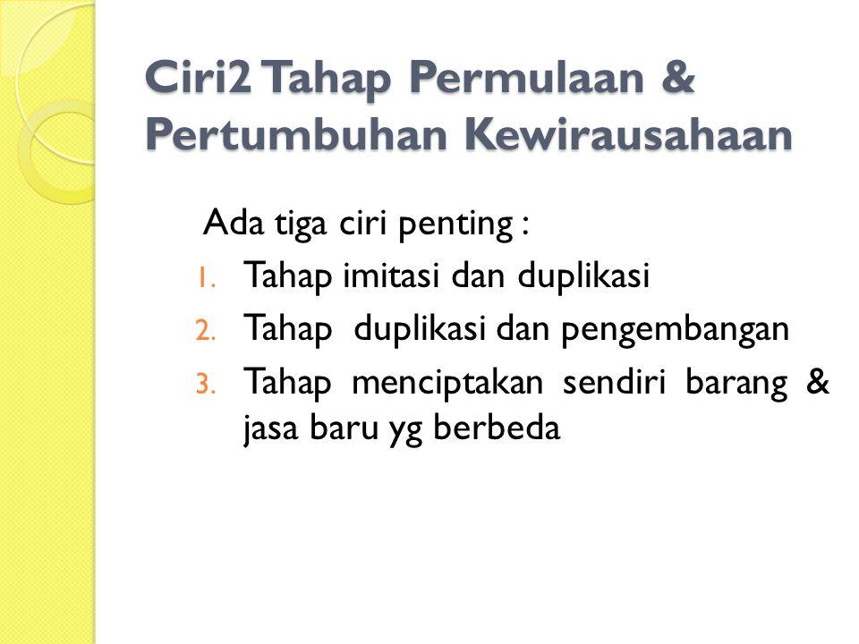 Ciri2 Tahap Permulaan & Pertumbuhan Kewirausahaan Ada tiga ciri penting : 1.