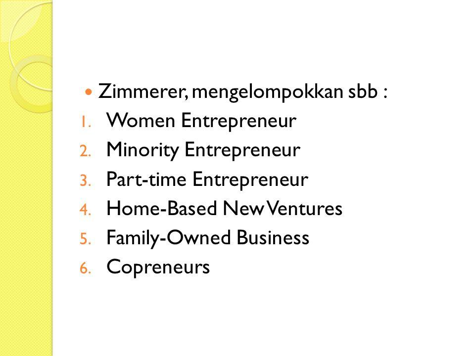 Zimmerer, mengelompokkan sbb : 1.Women Entrepreneur 2.