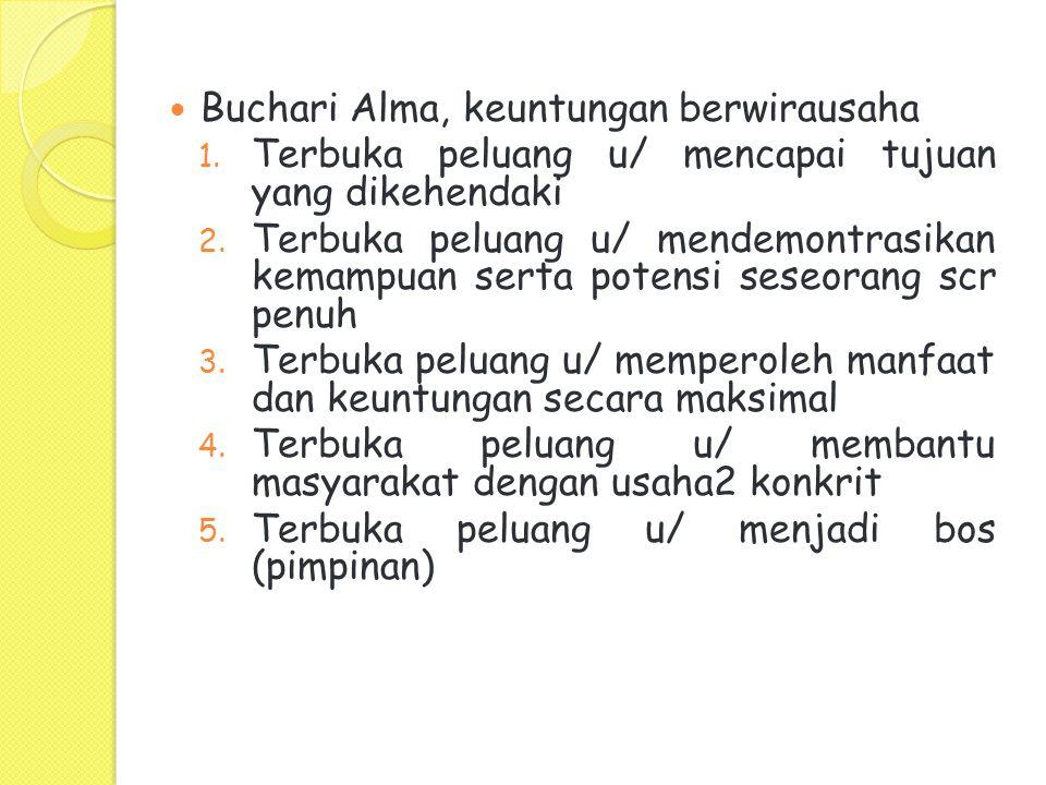 Buchari Alma, keuntungan berwirausaha 1.Terbuka peluang u/ mencapai tujuan yang dikehendaki 2.