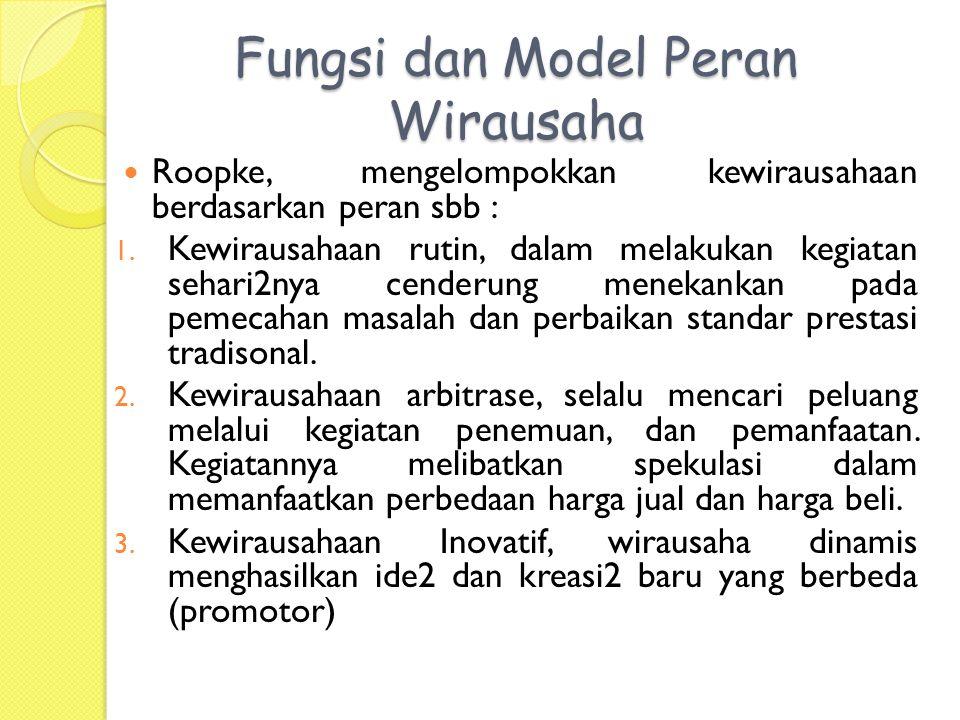 Fungsi dan Model Peran Wirausaha Roopke, mengelompokkan kewirausahaan berdasarkan peran sbb : 1.