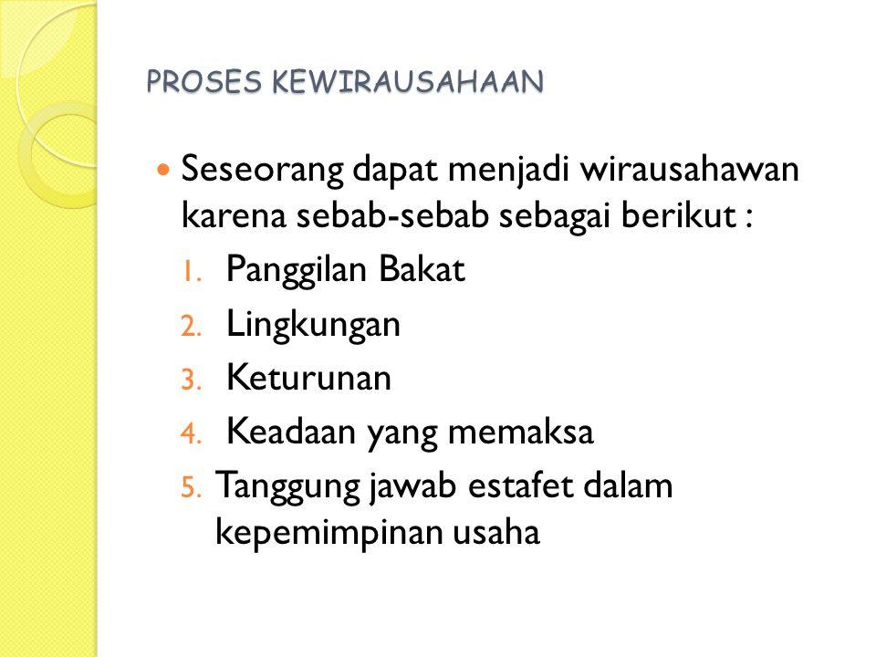PROSES KEWIRAUSAHAAN Seseorang dapat menjadi wirausahawan karena sebab-sebab sebagai berikut : 1.