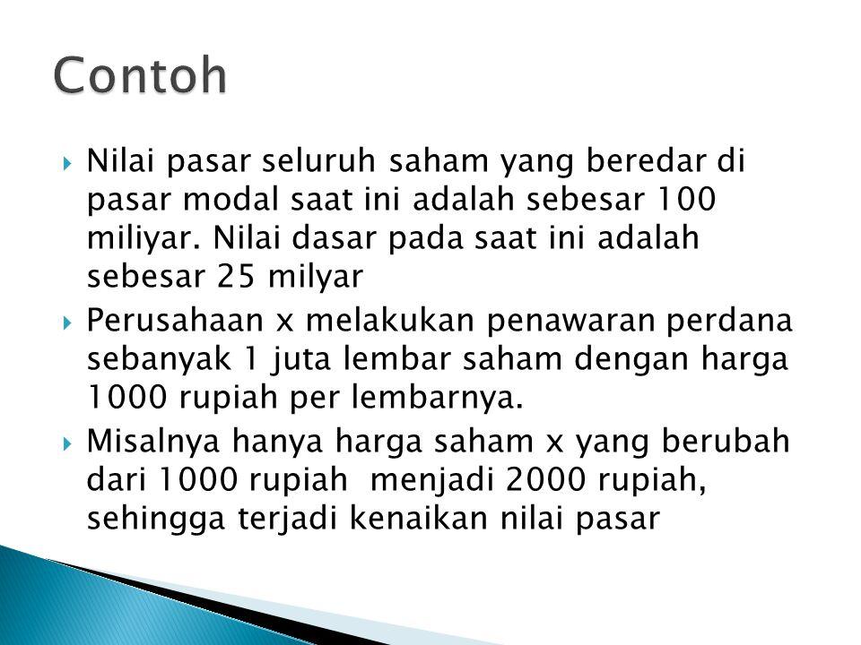  Nilai pasar seluruh saham yang beredar di pasar modal saat ini adalah sebesar 100 miliyar.