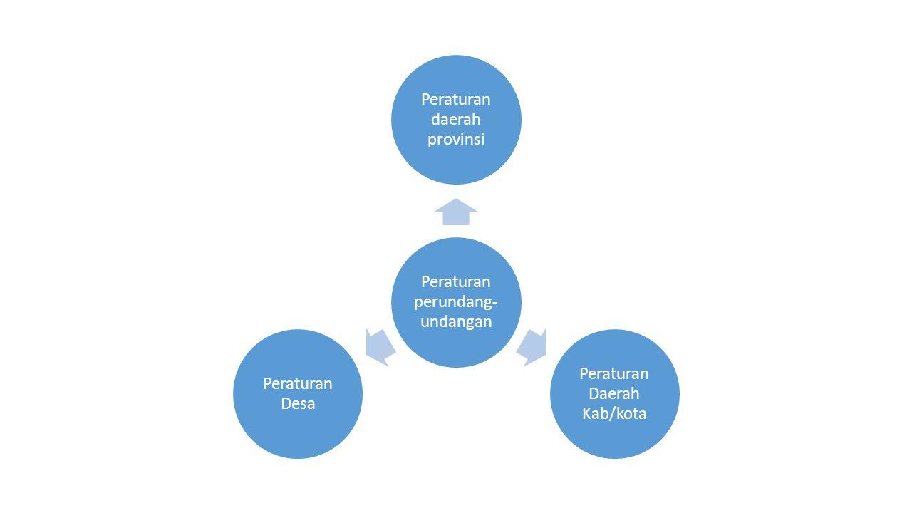 Peraturan perundang- undangan Peraturan daerah provinsi Peraturan Daerah Kab/kota Peraturan Desa