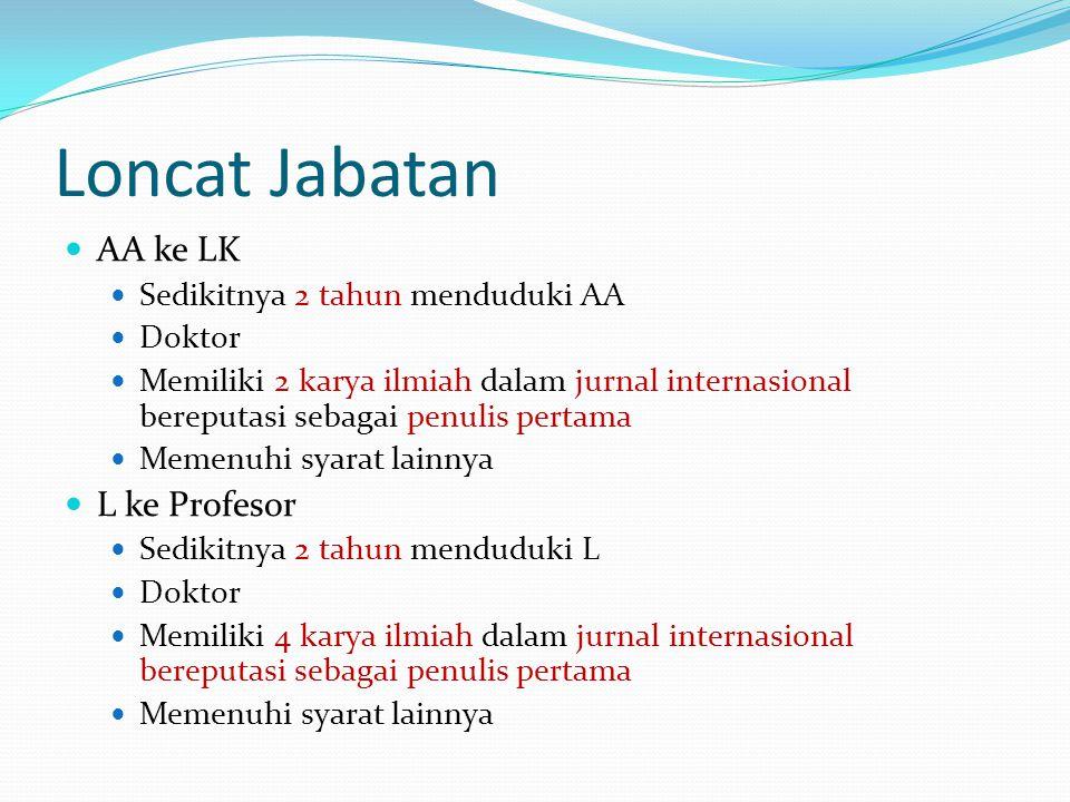 Loncat Jabatan AA ke LK Sedikitnya 2 tahun menduduki AA Doktor Memiliki 2 karya ilmiah dalam jurnal internasional bereputasi sebagai penulis pertama M
