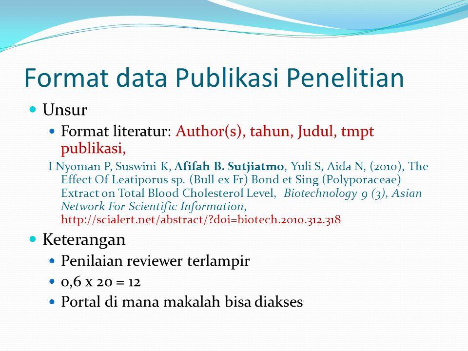 Format data Publikasi Penelitian Unsur Format literatur: Author(s), tahun, Judul, tmpt publikasi, I Nyoman P, Suswini K, Afifah B. Sutjiatmo, Yuli S,