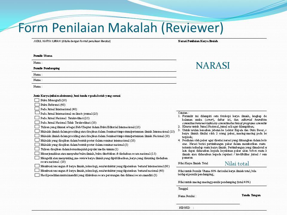 Form Penilaian Makalah (Reviewer) NARASI Nilai total