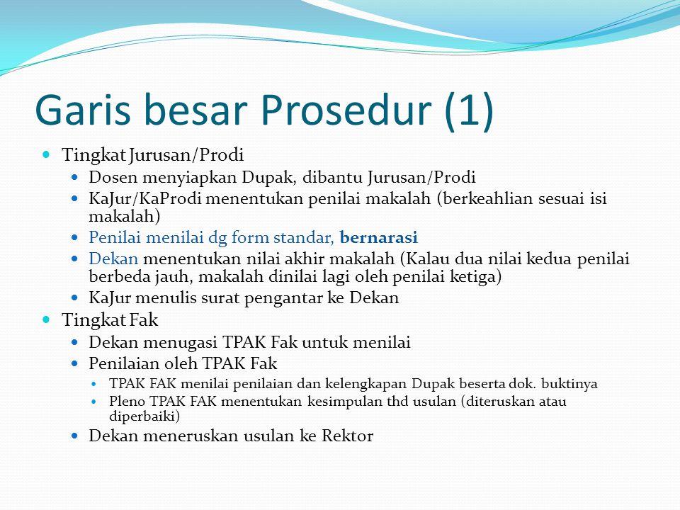 Garis besar Prosedur (1) Tingkat Jurusan/Prodi Dosen menyiapkan Dupak, dibantu Jurusan/Prodi KaJur/KaProdi menentukan penilai makalah (berkeahlian ses