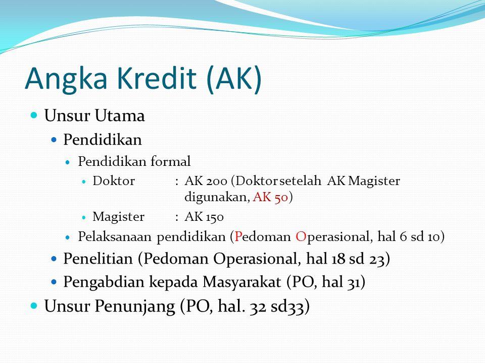 Angka Kredit (AK) Unsur Utama Pendidikan Pendidikan formal Doktor : AK 200 (Doktor setelah AK Magister digunakan, AK 50) Magister : AK 150 Pelaksanaan