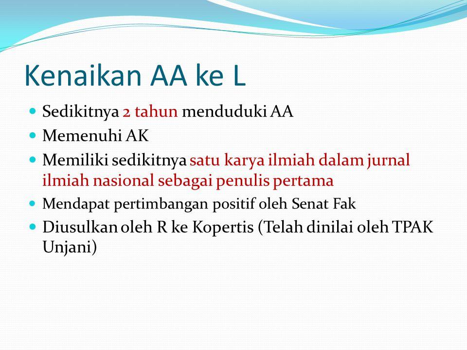 Kenaikan AA ke L Sedikitnya 2 tahun menduduki AA Memenuhi AK Memiliki sedikitnya satu karya ilmiah dalam jurnal ilmiah nasional sebagai penulis pertam