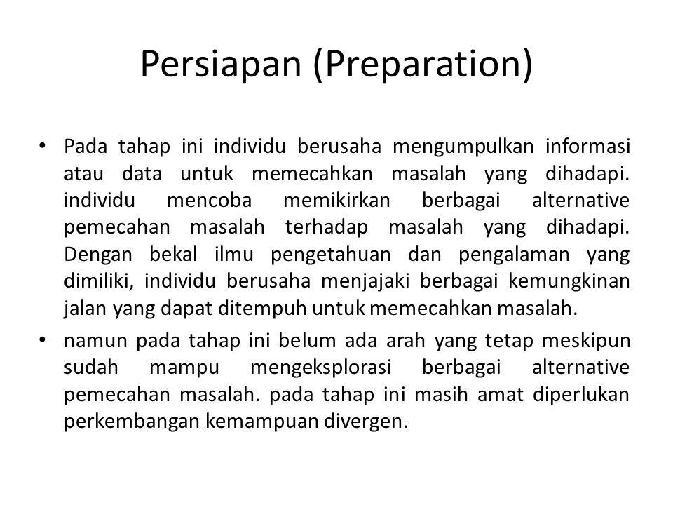 Persiapan (Preparation) Pada tahap ini individu berusaha mengumpulkan informasi atau data untuk memecahkan masalah yang dihadapi.