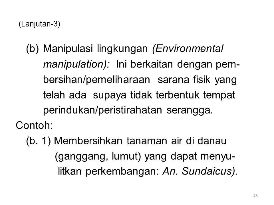 (Lanjutan-3) (b)Manipulasi lingkungan (Environmental manipulation): Ini berkaitan dengan pem- bersihan/pemeliharaan sarana fisik yang telah ada supaya