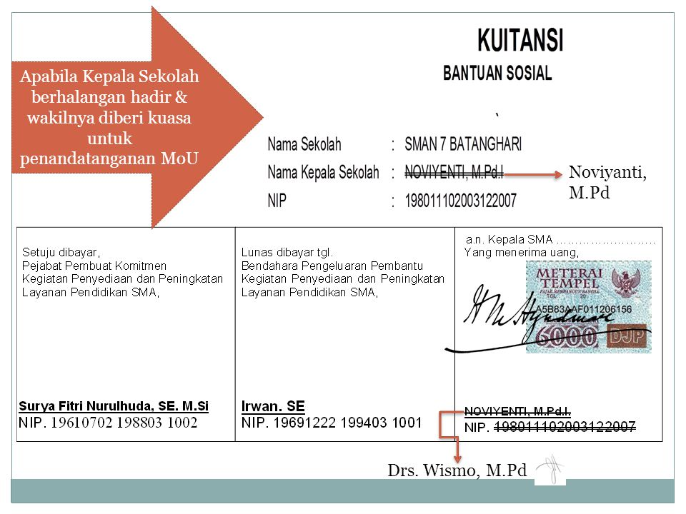 Apabila Kepala Sekolah berhalangan hadir & wakilnya diberi kuasa untuk penandatanganan MoU Drs. Wismo, M.Pd Noviyanti, M.Pd