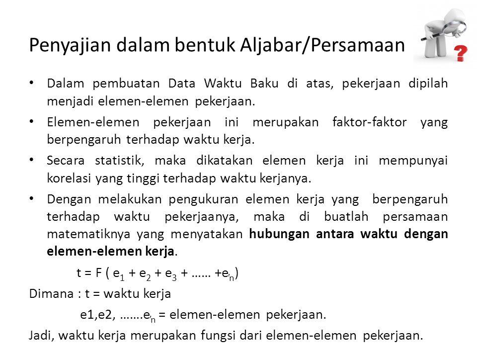 Penyajian dalam bentuk Aljabar/Persamaan Dalam pembuatan Data Waktu Baku di atas, pekerjaan dipilah menjadi elemen-elemen pekerjaan. Elemen-elemen pek