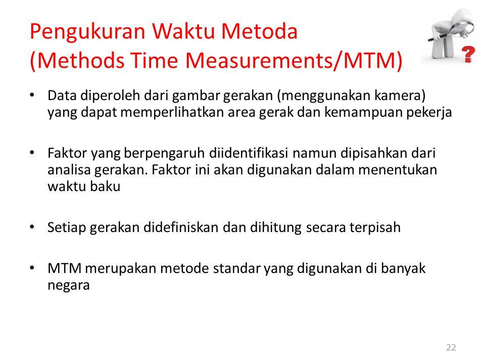 Pengukuran Waktu Metoda (Methods Time Measurements/MTM) Data diperoleh dari gambar gerakan (menggunakan kamera) yang dapat memperlihatkan area gerak d