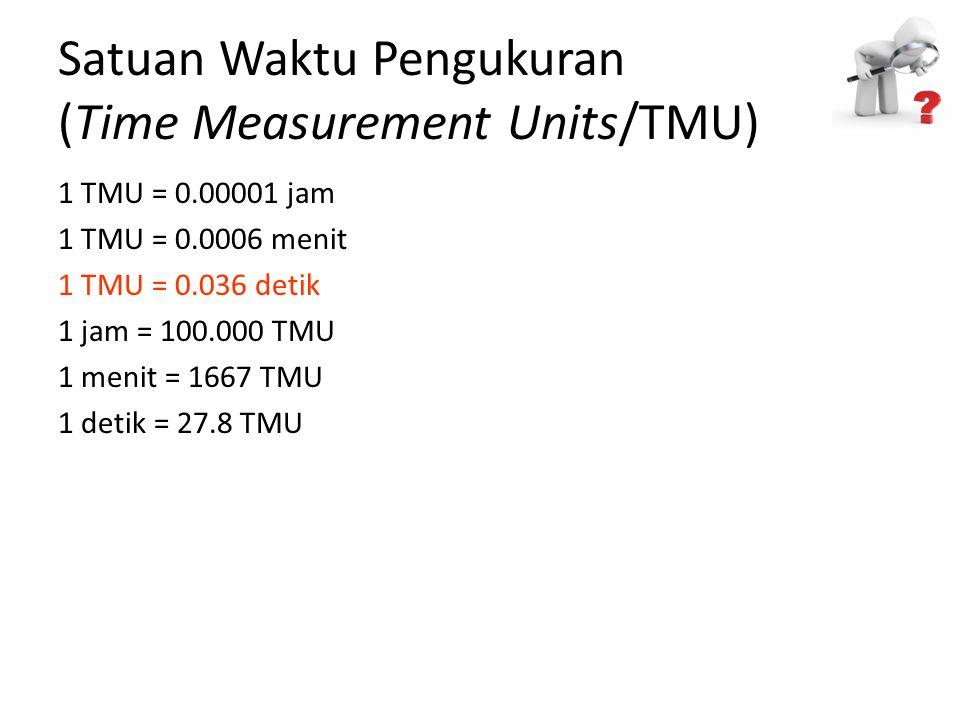 Satuan Waktu Pengukuran (Time Measurement Units/TMU) 1 TMU = 0.00001 jam 1 TMU = 0.0006 menit 1 TMU = 0.036 detik 1 jam = 100.000 TMU 1 menit = 1667 T