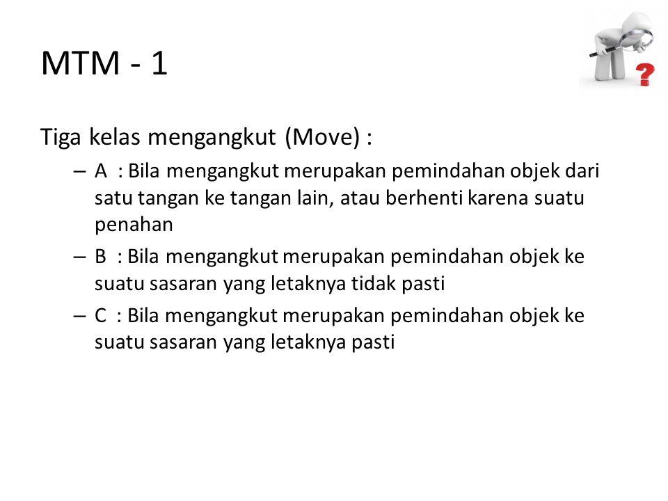 MTM - 1 Tiga kelas mengangkut (Move) : – A : Bila mengangkut merupakan pemindahan objek dari satu tangan ke tangan lain, atau berhenti karena suatu pe
