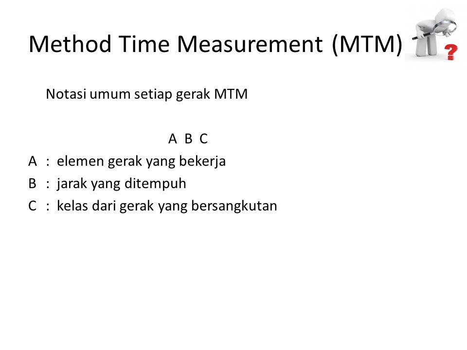 Method Time Measurement (MTM) Notasi umum setiap gerak MTM A B C A: elemen gerak yang bekerja B: jarak yang ditempuh C: kelas dari gerak yang bersangk