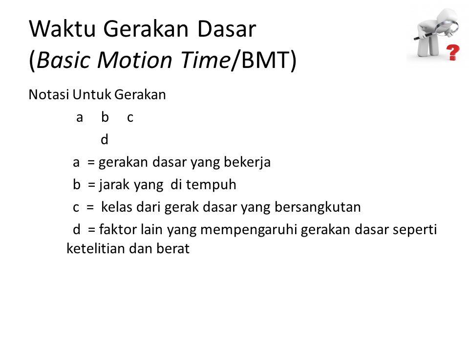 Waktu Gerakan Dasar (Basic Motion Time/BMT) Notasi Untuk Gerakan a b c d a = gerakan dasar yang bekerja b = jarak yang di tempuh c = kelas dari gerak