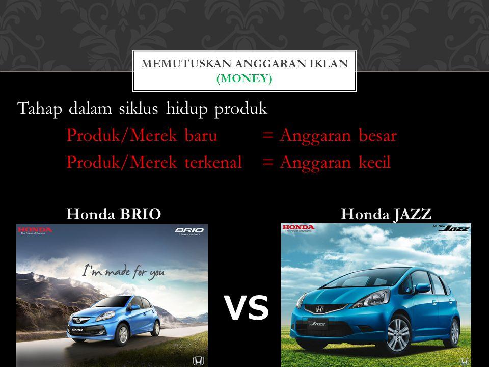 Tahap dalam siklus hidup produk Produk/Merek baru = Anggaran besar Produk/Merek terkenal = Anggaran kecil Honda BRIO Honda JAZZ VS MEMUTUSKAN ANGGARAN