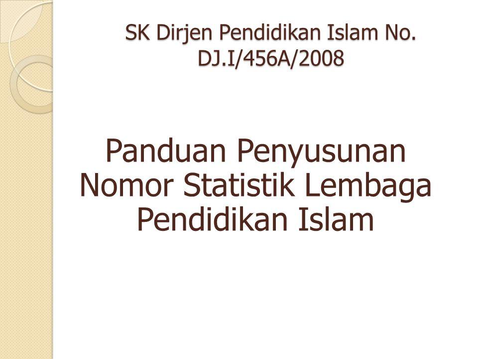 SK Dirjen Pendidikan Islam No. DJ.I/456A/2008 Panduan Penyusunan Nomor Statistik Lembaga Pendidikan Islam