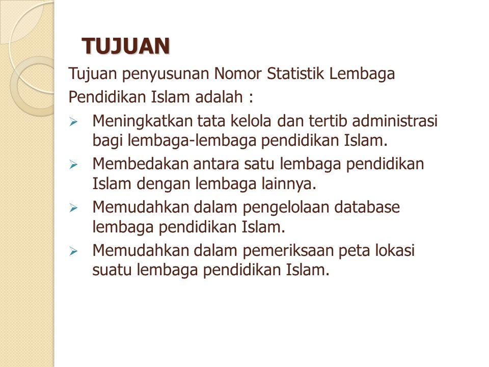 TUJUAN Tujuan penyusunan Nomor Statistik Lembaga Pendidikan Islam adalah :  Meningkatkan tata kelola dan tertib administrasi bagi lembaga-lembaga pen