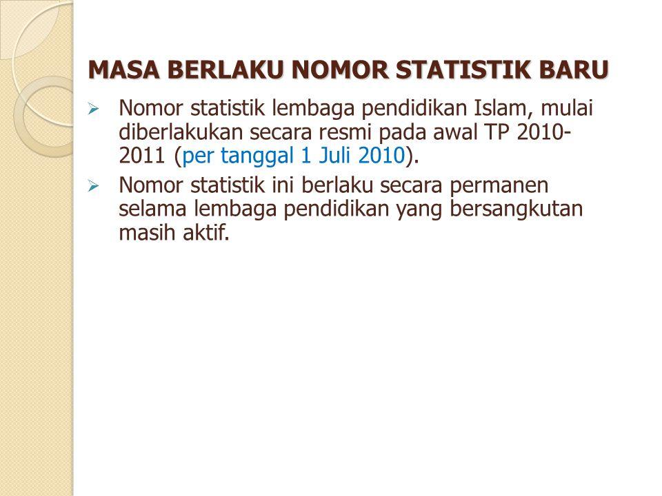 MASA BERLAKU NOMOR STATISTIK BARU  Nomor statistik lembaga pendidikan Islam, mulai diberlakukan secara resmi pada awal TP 2010- 2011 (per tanggal 1 J