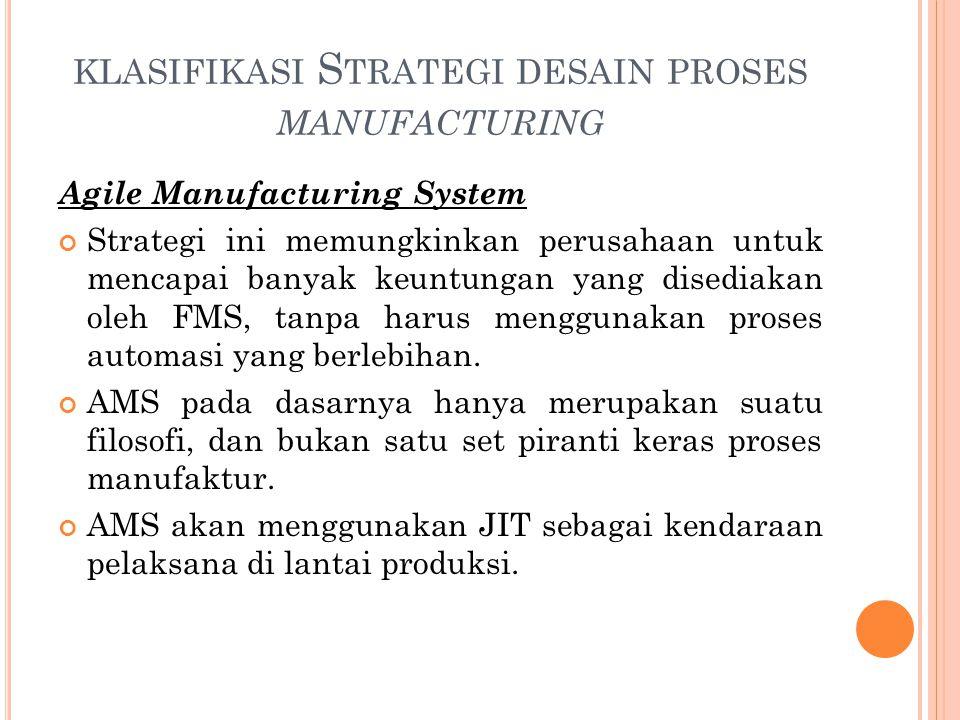 KLASIFIKASI S TRATEGI DESAIN PROSES MANUFACTURING Agile Manufacturing System Strategi ini memungkinkan perusahaan untuk mencapai banyak keuntungan yan