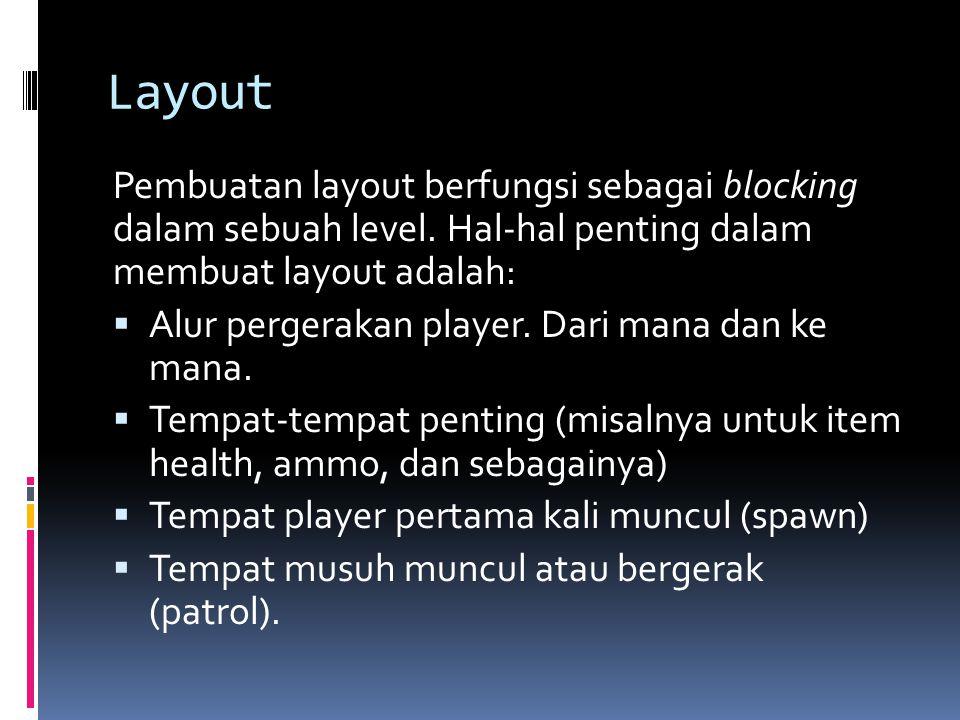 Layout Pembuatan layout berfungsi sebagai blocking dalam sebuah level. Hal-hal penting dalam membuat layout adalah:  Alur pergerakan player. Dari man