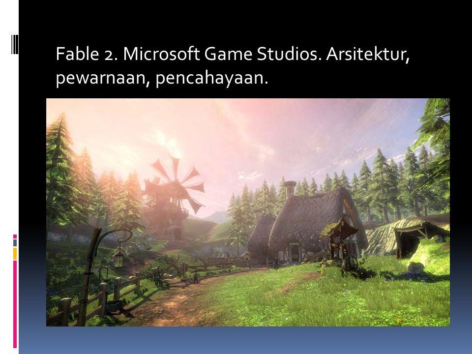 Fable 2. Microsoft Game Studios. Arsitektur, pewarnaan, pencahayaan.