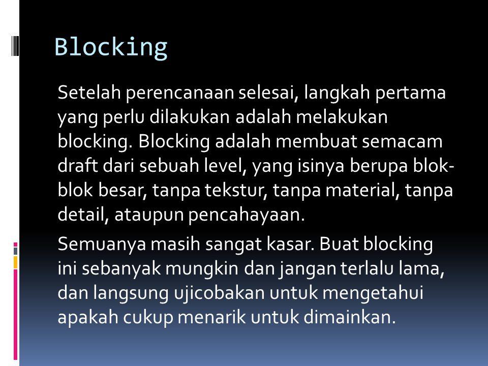 Blocking Setelah perencanaan selesai, langkah pertama yang perlu dilakukan adalah melakukan blocking. Blocking adalah membuat semacam draft dari sebua