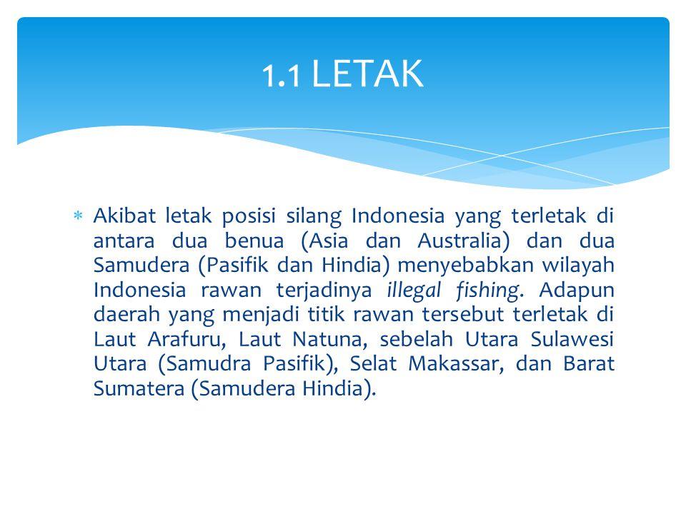  Akibat letak posisi silang Indonesia yang terletak di antara dua benua (Asia dan Australia) dan dua Samudera (Pasifik dan Hindia) menyebabkan wilaya