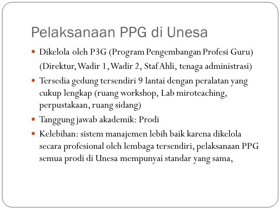 Pelaksanaan PPG di Unesa Dikelola oleh P3G (Program Pengembangan Profesi Guru) (Direktur, Wadir 1, Wadir 2, Staf Ahli, tenaga administrasi) Tersedia g
