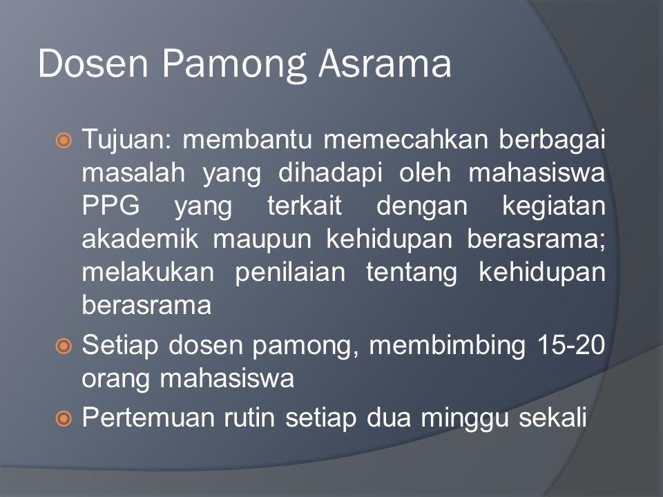 Dosen Pamong Asrama  Tujuan: membantu memecahkan berbagai masalah yang dihadapi oleh mahasiswa PPG yang terkait dengan kegiatan akademik maupun kehid