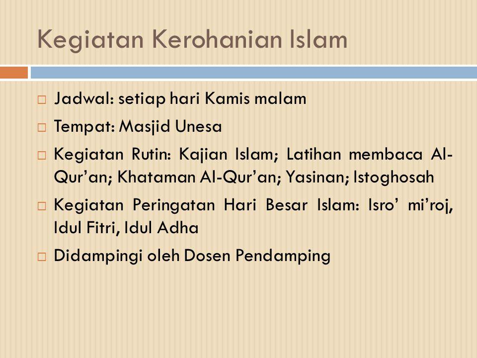 Kegiatan Kerohanian Islam  Jadwal: setiap hari Kamis malam  Tempat: Masjid Unesa  Kegiatan Rutin: Kajian Islam; Latihan membaca Al- Qur'an; Khatama