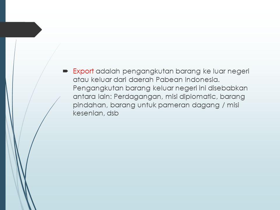 Dalam kaitannya dengan export suatu barang didalam perdagangan Internasional, minimal melibatkan 2 pihak, yaitu exporter (sebagai penjual barang) dan importer (sebagai pembeli barang)
