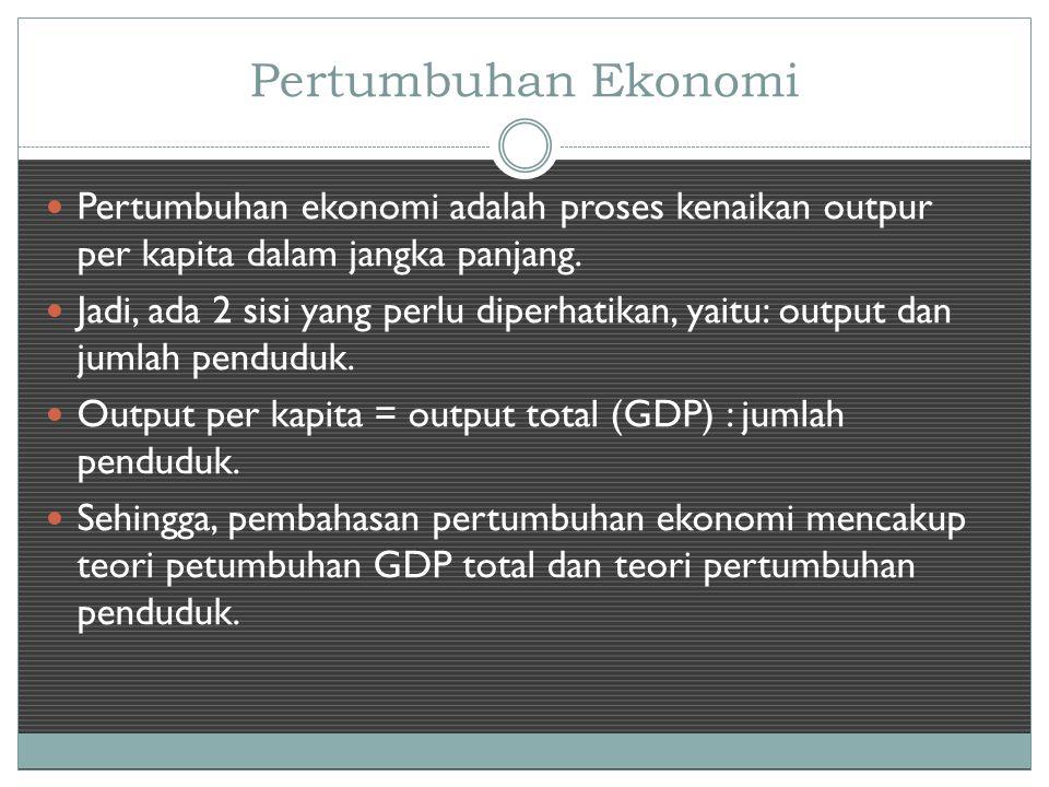 Pertumbuhan Ekonomi Pertumbuhan ekonomi adalah proses kenaikan outpur per kapita dalam jangka panjang.