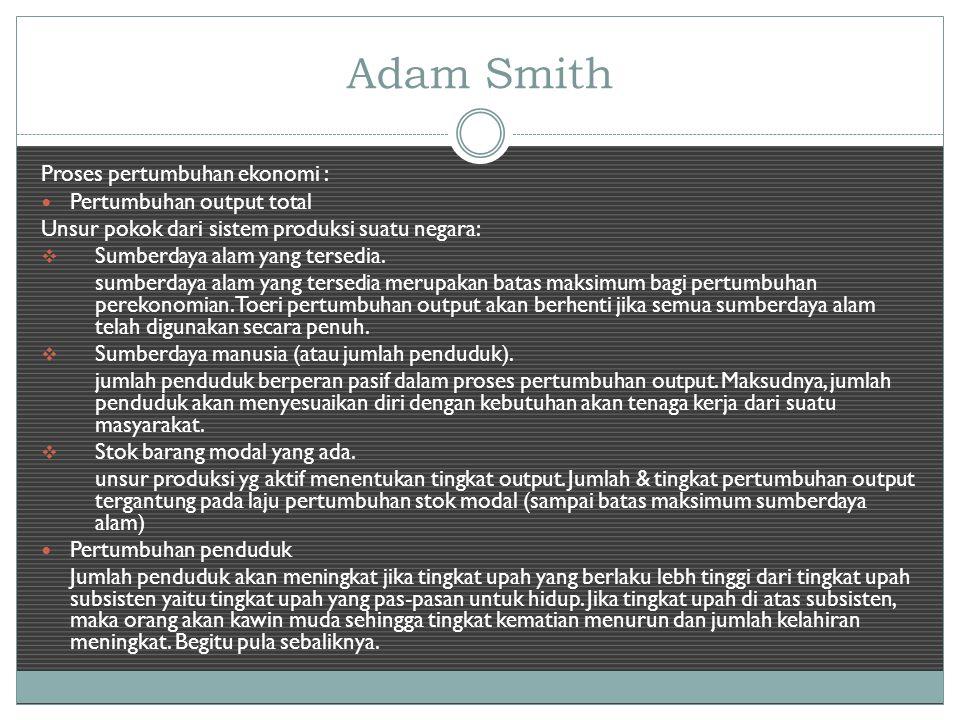 Adam Smith Proses pertumbuhan ekonomi : Pertumbuhan output total Unsur pokok dari sistem produksi suatu negara:  Sumberdaya alam yang tersedia.
