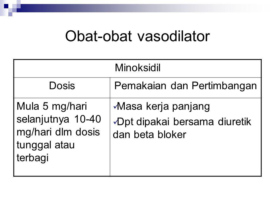Obat-obat vasodilator Minoksidil DosisPemakaian dan Pertimbangan Mula 5 mg/hari selanjutnya 10-40 mg/hari dlm dosis tunggal atau terbagi Masa kerja pa