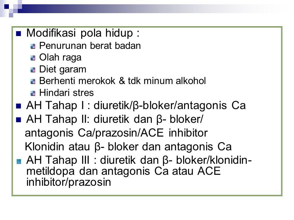 Modifikasi pola hidup : Penurunan berat badan Olah raga Diet garam Berhenti merokok & tdk minum alkohol Hindari stres AH Tahap I : diuretik/β-bloker/a